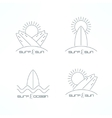 Set of surfing icons Surf icons in thin line vector image vector image