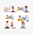 set people with social media icons vector image vector image