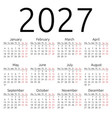 simple calendar 2027 monday vector image vector image