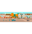 small town streets people walking houses of vector image vector image