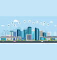 smart city with business signs online concept vector image