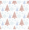 snowflake winter christmas tree holiday fir-tree vector image