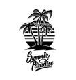 summer emblem with palms design element for logo vector image