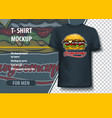 t-shirt mock-up template with burger and vector image vector image