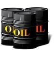 Three barrels of oil vector image