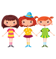Three little girls vector image vector image