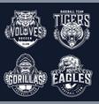 vintage monochrome sport teams badges vector image vector image