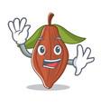 waving cacao bean character cartoon vector image vector image