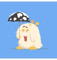 White Fluffy Monster With Tiny Wings And Umbrella vector image vector image
