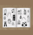 winter doodle houses vector image vector image
