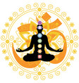 woman in yoga lotus pose with chakra symbols vector image