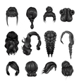 Women Wigs Hairstyle Back Icons Set vector image vector image