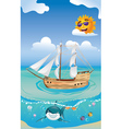 Wooden Ship in the Sea2 vector image