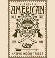 american indian tribe poster with chief skull vector image
