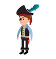 boy with pirate costume with hat in halloween vector image