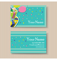 business card with birthday cake vector image