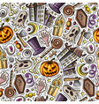 cartoon cute hand drawn halloween seamless pattern vector image vector image