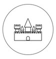castle icon black color in circle isolated vector image