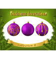 Christmas decorations Collection of violet glass vector image vector image