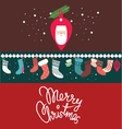 christmas post card with santa vector image vector image