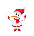 Cute and funny little snowman under falling snow vector image vector image