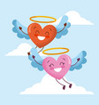 cute cartoon hearts love flyng wings in the sky vector image
