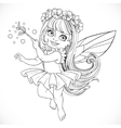Cute little spring fairy girl in tutu with Magic