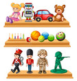 different dolls and balls on shelves vector image vector image