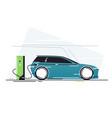 electric car at vehicle charging station vector image