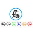 euro financial umbrella rounded icon vector image