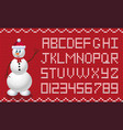 fabric christmas and new year script with snowman vector image vector image