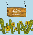 festa junina with cactuses and sunflowers vector image vector image