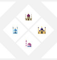 flat icon mosque set of mosque building vector image