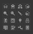 flat icons set real estate property outline vector image