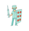 flat male doctor with huge syringe pills vector image vector image