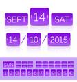 flat violet calendar with analog flip vector image vector image