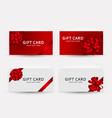 gift card template collection set with bow and vector image