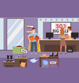 girl pays for purchase at checkout man with vector image vector image