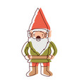 gnome with costume in watercolor silhouette vector image vector image