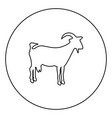 goat black icon outline in circle image vector image vector image