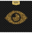 Gold glitter icon of eye isolated on vector image