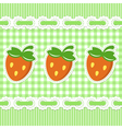 Green checked pattern with strawberry vector image vector image