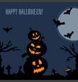 happy halloween dark postcard vector image