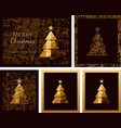 happy new year cards with golden stylized vector image