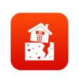 house after an earthquake icon digital red vector image vector image