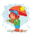 icon small girl with an umbrella vector image