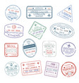 Icons of world travel city passport stamps