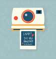 instant camera with a photo and love message vector image vector image