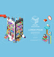 isometric online education and learning concept vector image