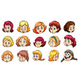 Ladies with different expressions vector image vector image